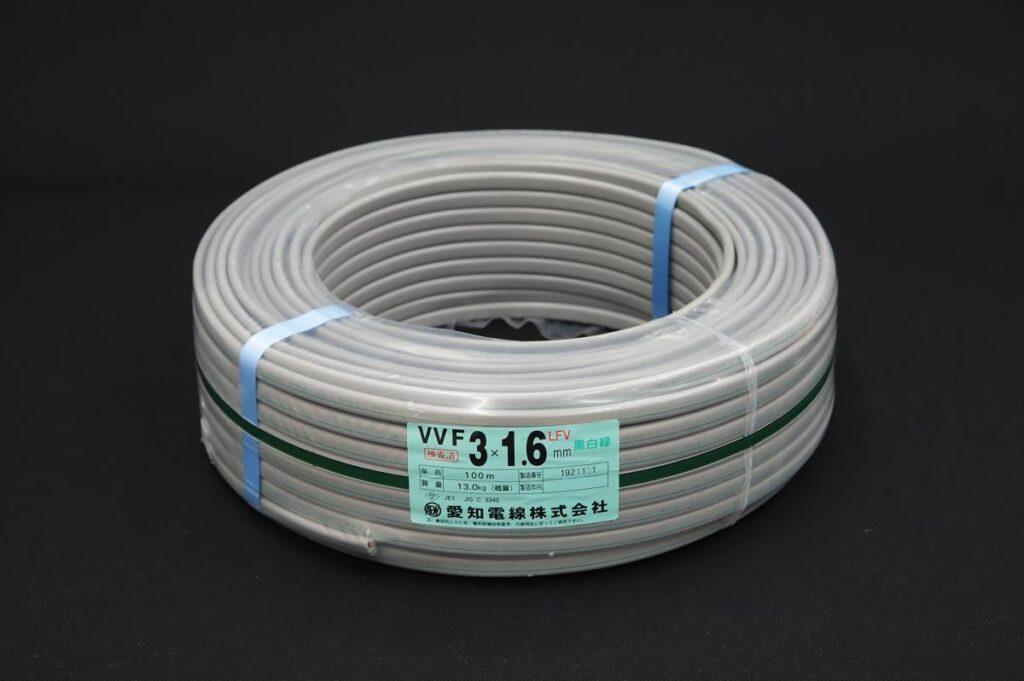 愛知電線 VVFケーブル 3×1.6mm LFV 条長:100m 黒白緑(2021年1月買取)