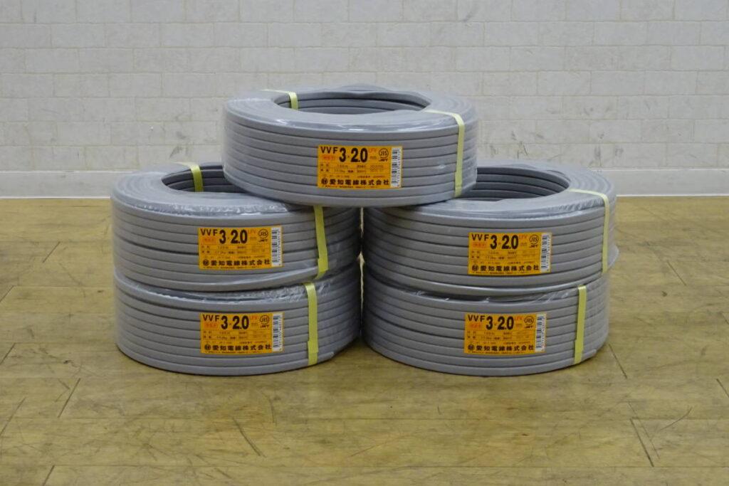 愛知電線 VVF 3x2.0 100m巻 5巻セット(2021年1月買取)